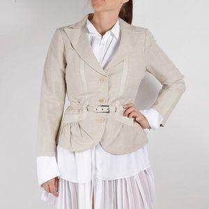 EMPORIO ARMANI Linen Belted Blazer Jacket Size 10